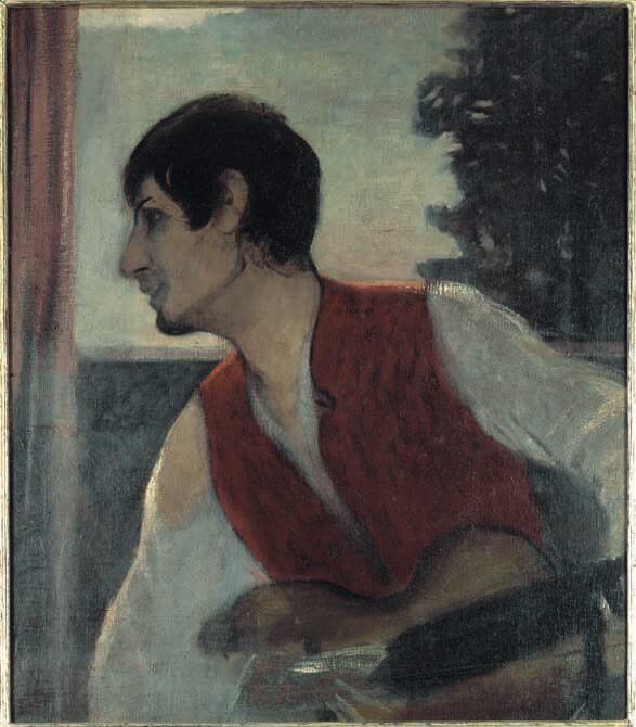 Otto Müller, Selbstbildnis mit Gitarre, Selbstbildnis als Zigeuner/Selbstbildnis als Halbzigeuner, 1903-1904, Öl auf Leinen © Galerie Nierendorf