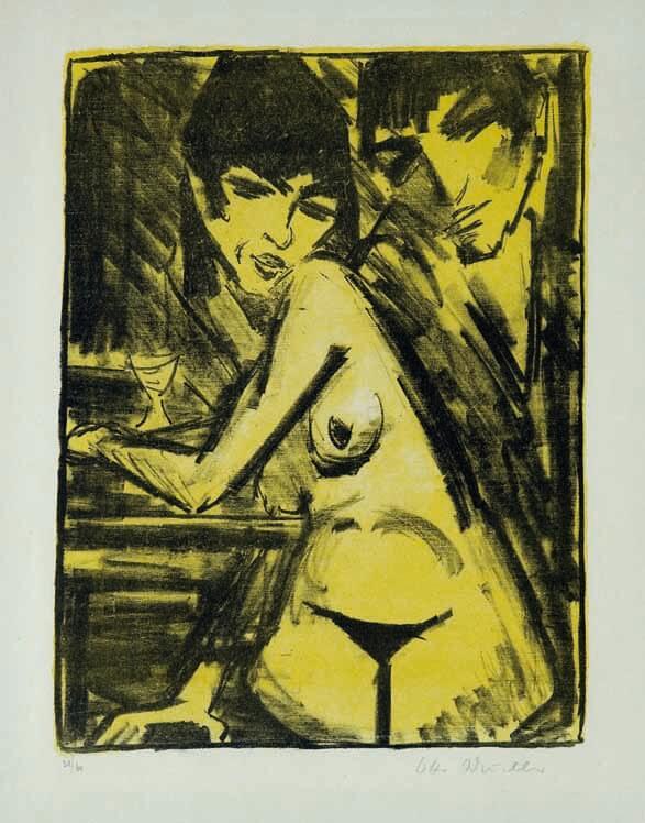 Otto Mueller, Paar am Tisch (Selbstbildnis mit Mascha; Absinthtrinkerin), 1922-1925, Farblithografie © Galerie Nierendorf