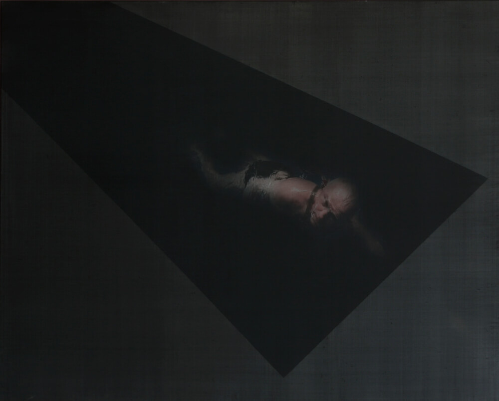 Dominik Lejman, Harnessed Swimmer, 2009, video projection on canvas © courtesy zakranicka 2009