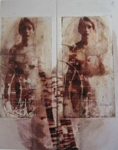 Ulrike Bolenz, Rotes Bild Cloning, 1997, mixed media ©U.Bolenz